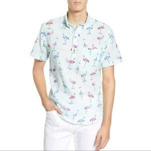 Chubbies Light Blue Flamingo Button-Down Shirt S